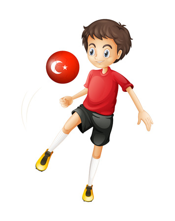 Illustration of a boy using the ball with the flag of Turkey on a white background Vector
