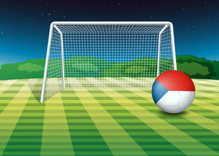 Illustration of a ball at the field with the flag of Czech Republic Vector