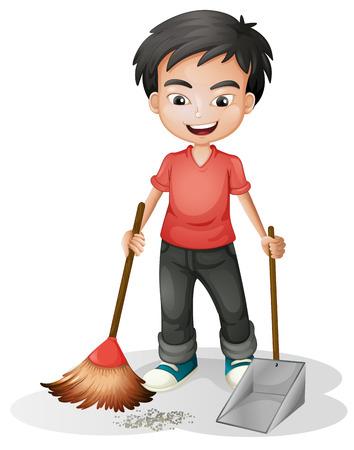 흰색 배경에 먼지를 청소하는 소년의 그림