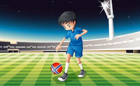 Illustration of a boy at the field using the ball with the flag of Norway Vector
