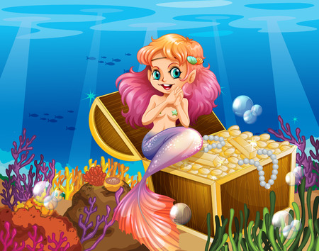 Illustration of a mermaid under the sea beside the treasures Illustration