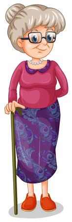 alte frau: Illustration einer alten Frau mit einem Stock auf wei�em Hintergrund