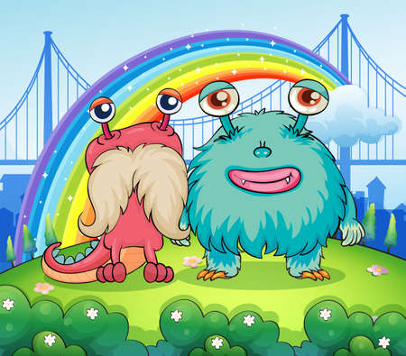 Illustration of the two weird monsters and a rainbow in the sky Vector