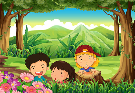 Illustration of the three playful kids at the woods Vector