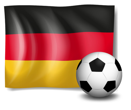 tricoloured: Illustration of a soccer ball in front of the German flag on a white background