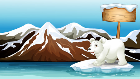 Illustration of an iceberg in the ocean with an empty signboard and a Polar bear Illustration