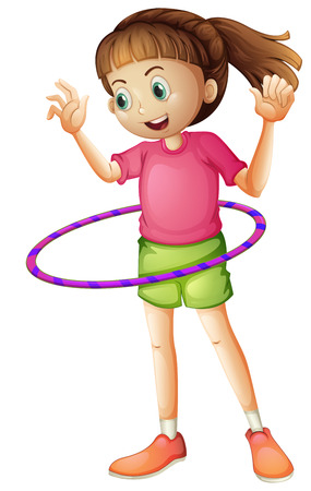 hulahoop: Illustration of a young girl playing hoop on a white background