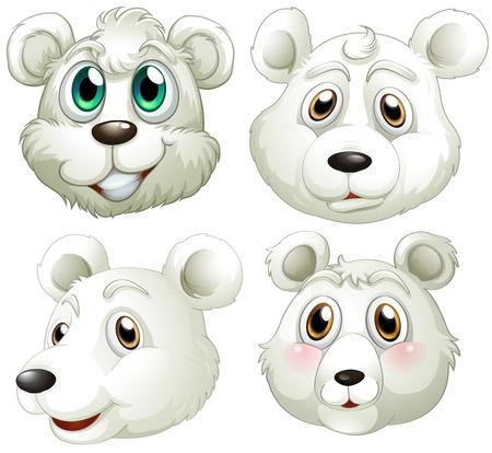 Illustratie van de hoofden van de ijsberen op een witte achtergrond