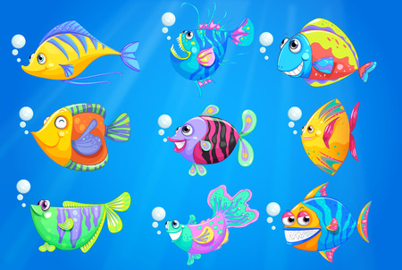 Illustration of the nine colourful fishes under the deep ocean