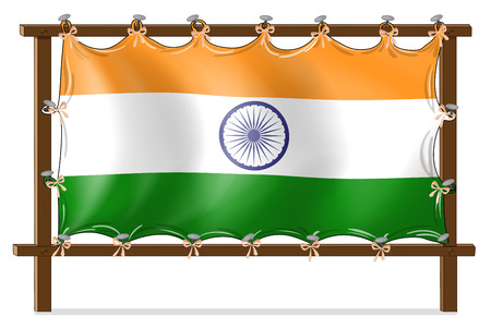 corner flag: Illustration of a wooden frame with the flag of India on a white background Illustration