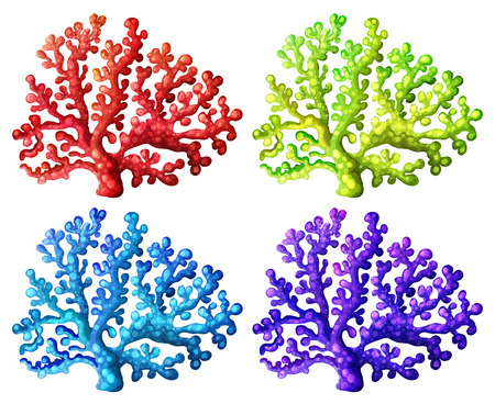 Illustration of the colorful coral reefs on a white background