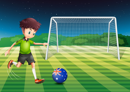 footwork: Illustration of a boy kicking the soccer ball at the field with the flag of Australia