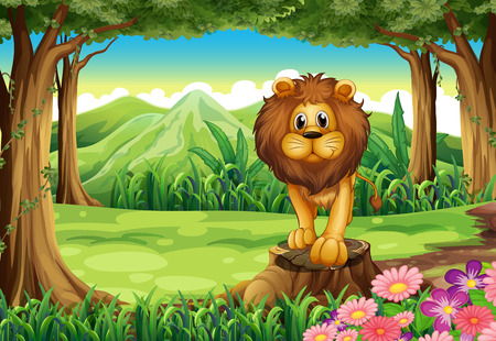 Illustration of a jungle with a lion above the stump Vector