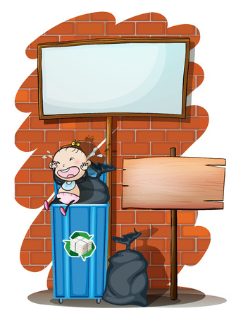 Illustration of the two empty signboards near the trashcan with a baby on a white background Vector