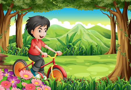 Illustration of a boy biking at the woods Vector