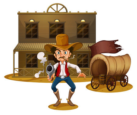 Illustration of an armed man near the wagon on a white background Vector