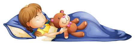 Illustration d'une jeune fille de dormir avec un jouet sur un fond blanc