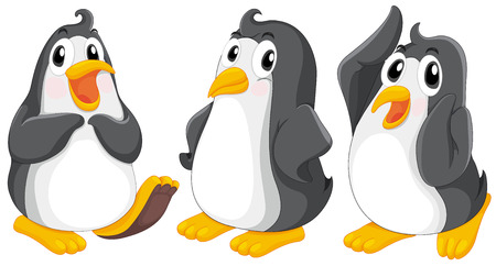 Illustratie van de drie schattige pinguïns op een witte achtergrond