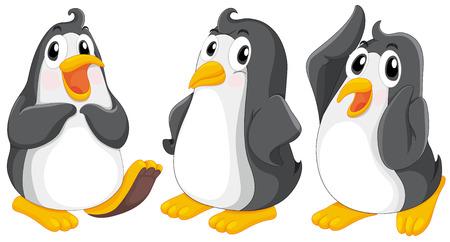 northpole: Illustratie van de drie schattige pinguïns op een witte achtergrond