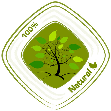 Illustration of a natural label design on a white background Vector