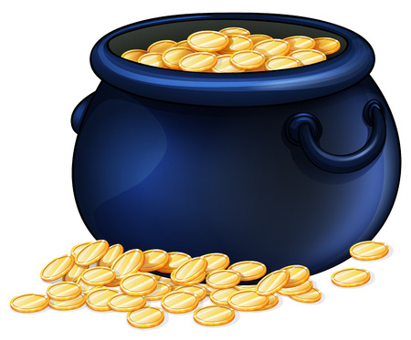 Illustration of a pot of gold coins on a white background