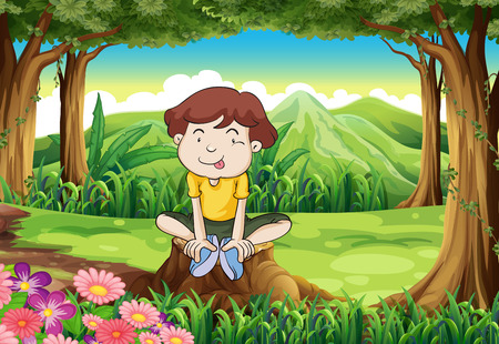 Illustration of a silly young boy above the stump Vector