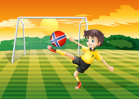 kicking ball: Illustration of a girl at the field kicking the ball with the flag of Norway