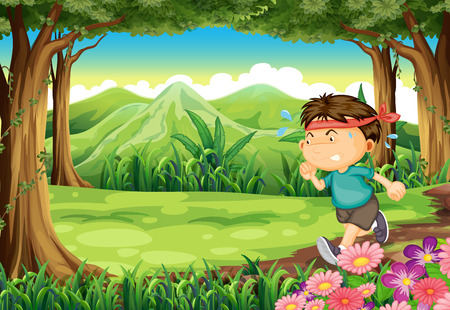 Illustration of a boy jogging in the middle of the forest Vector
