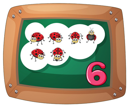 Illustration of a blackboard with six ladybugs on a white background Vector