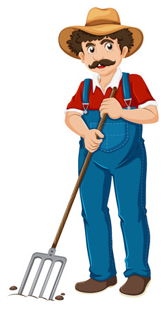 Illustration of an old gardener on a white background Vector