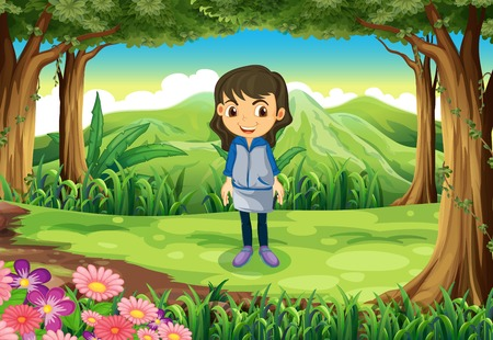Illustration of a teenager at the jungle Vector