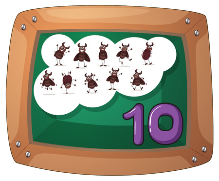 Illustration of a blackboard with ten cockroaches on a white background Vector