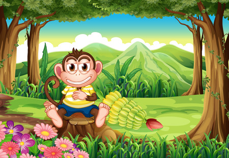 Illustration of a jungle with a monkey above the stump Vector