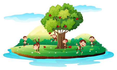 Illustration of an island with playful monkeys on a white background Vector