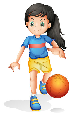 indoor sport: Illustration of a little girl playing basketball on a white background