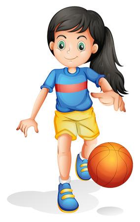 Ilustración de un poco de baloncesto niña de juego sobre un fondo blanco
