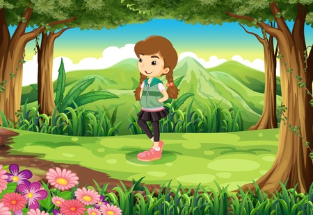 Illustration of a fashionable young girl at the forest Vector
