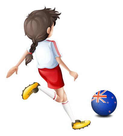 bandera de nueva zelanda: Ilustración de una mujer de patear la pelota con la bandera de Nueva Zelanda en un fondo blanco
