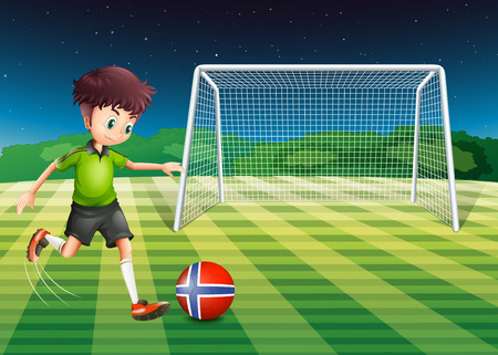 footwork: Illustration of a young boy kicking the ball with the flag of Norway