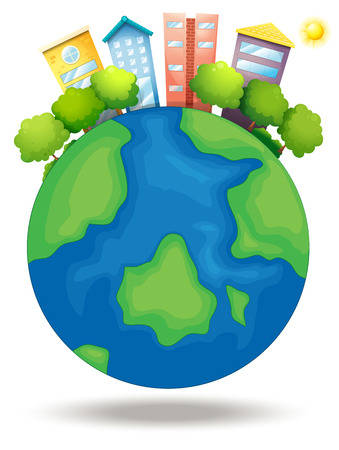 Illustration of the earth with trees and tall buildings on a white background Illustration