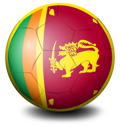 sri: Illustration of a soccer ball with the flag of Sri Lanka on a white background