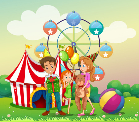 Illustration of a family at the carnival Vector