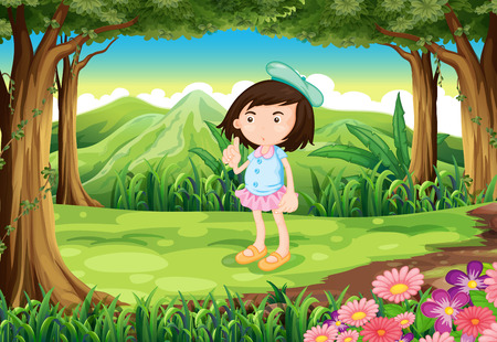 Illustration of a jungle with a cute young girl Vector