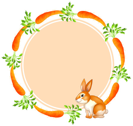 Illustration of a round template with a rabbit and carrots on a white background Vector