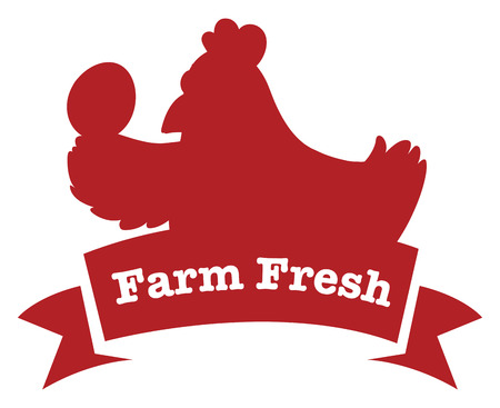 Illustration of a farm fresh label with a red chicken on a white background Vector