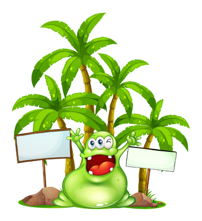 Illustration of a happy monster with empty signboards on a white background Vector