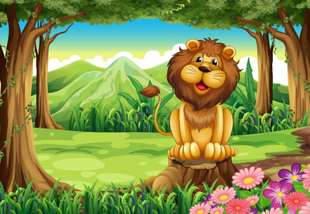 Illustration of a smiling king lion above the stump Vector