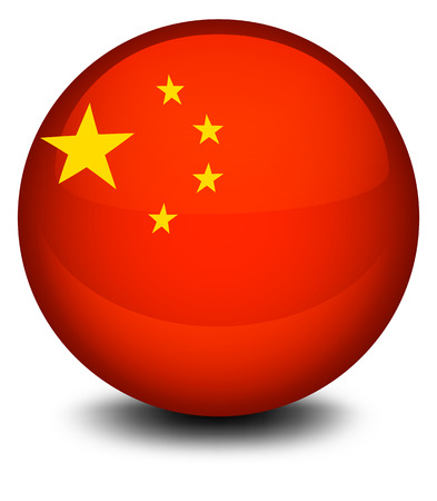 footwork: Illustration of a ball designed with the flag of China on a white background