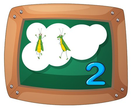 Illustration of a blackboard with two grasshoppers on a white background Vector