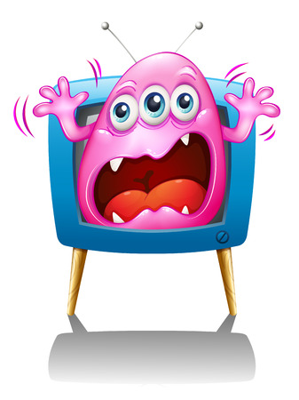 Illustration of a TV with a pink monster screaming on a white background Vector